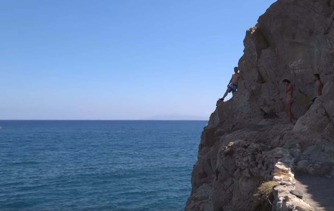 Kamari Beach in Santorini Island Cliff Dive