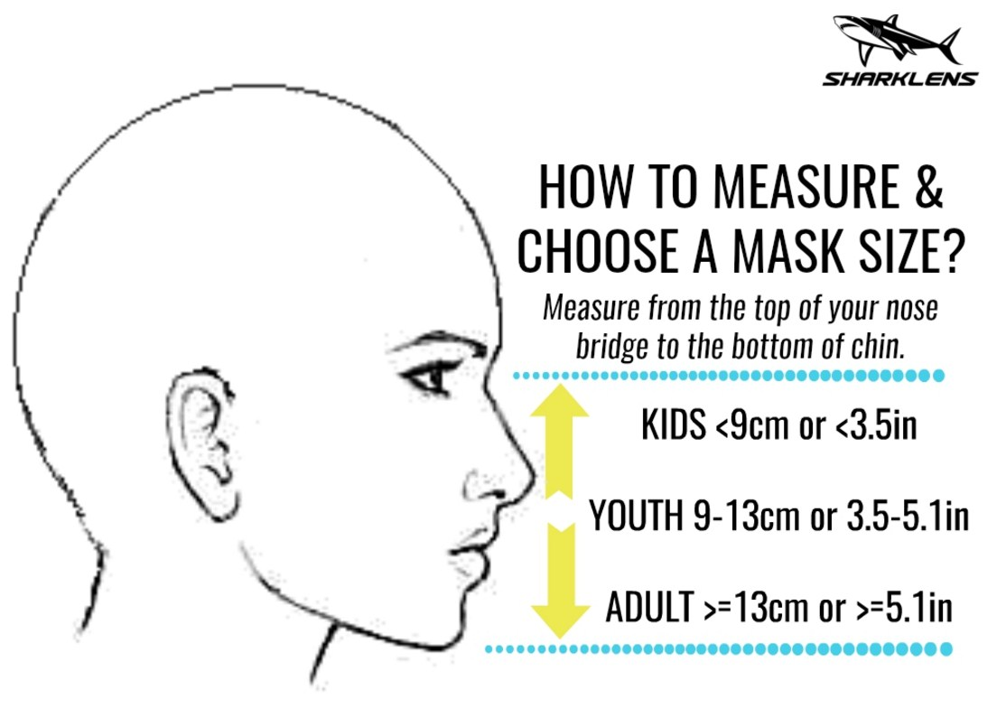 Dive mask size fitting with your facial contours