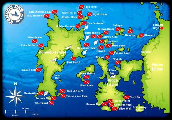 map location diving in Komodo island