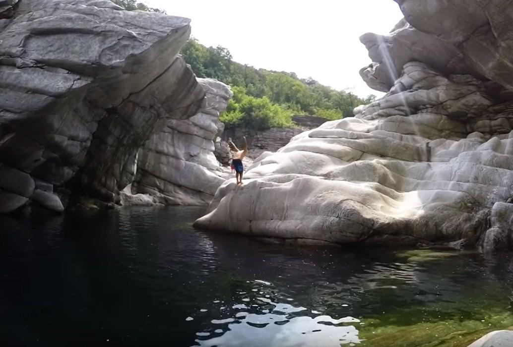 Extreme Adventure in Brontallo, Switzerland Cliff Dive