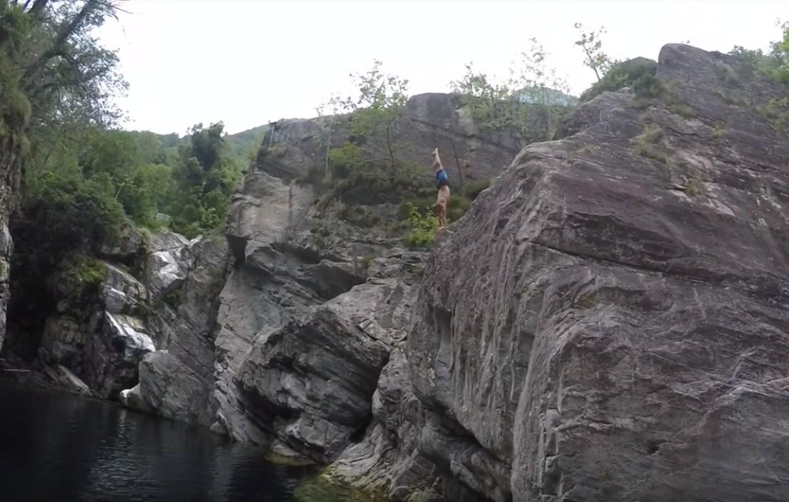 Extreme Clif Dive in Brontallo, Switzerland